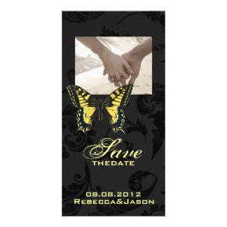 damask black yellow butterfly wedding customised photo card