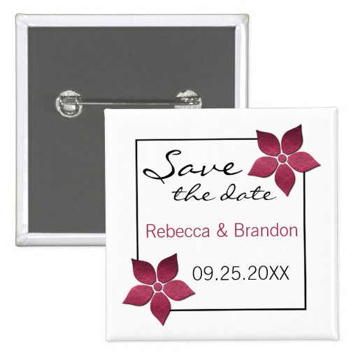 Damask Blooms Save the Date Button, Fuchsia