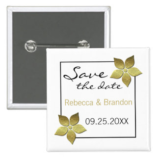 Damask Blooms Save the Date Button, Gold