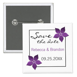 Damask Blooms Save the Date Button, Purple