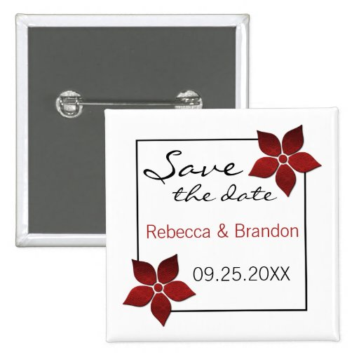 Damask Blooms Save the Date Button, Red