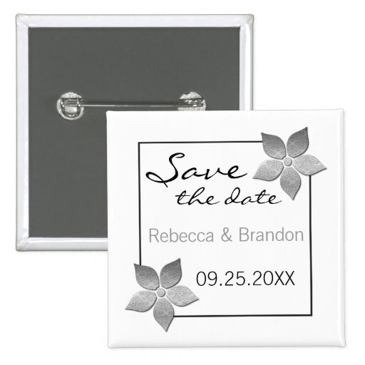 Damask Blooms Save the Date Button, Silver