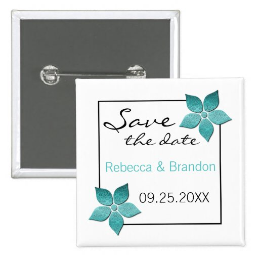 Damask Blooms Save the Date Button, Turquoise