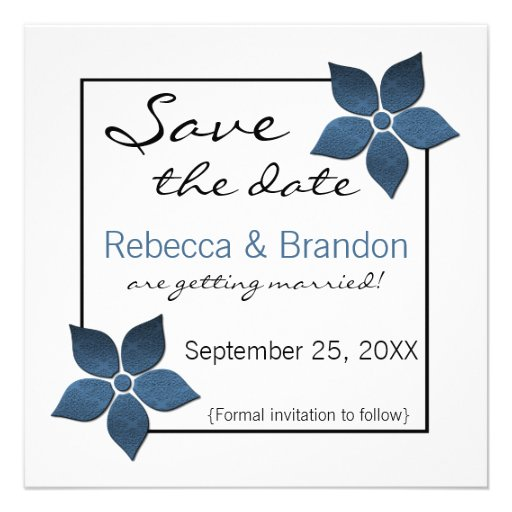 Damask Blooms Save the Date Invite, Dark Blue