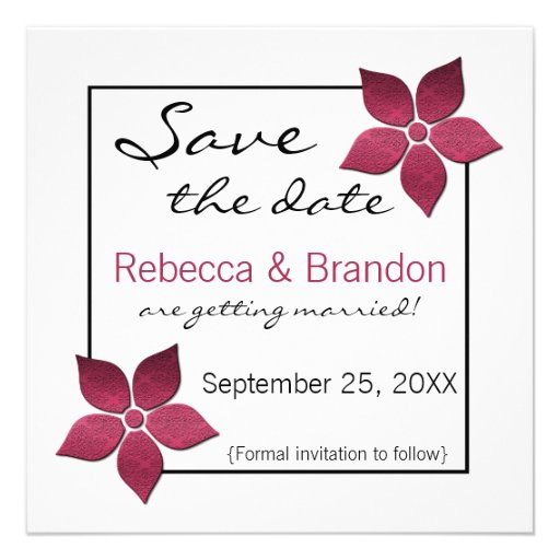 Damask Blooms Save the Date Invite, Fuchsia