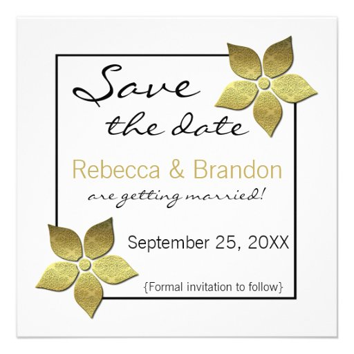 Damask Blooms Save the Date Invite, Gold