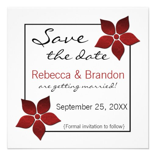 Damask Blooms Save the Date Invite, Red