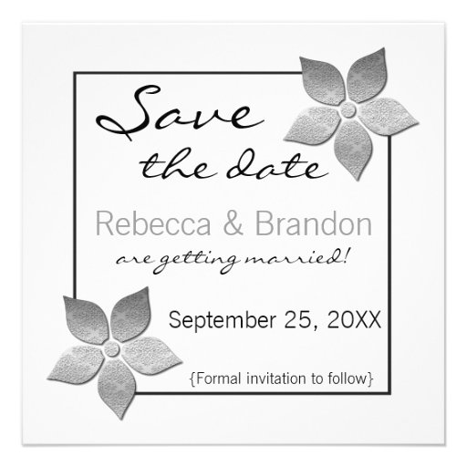 Damask Blooms Save the Date Invite, Silver