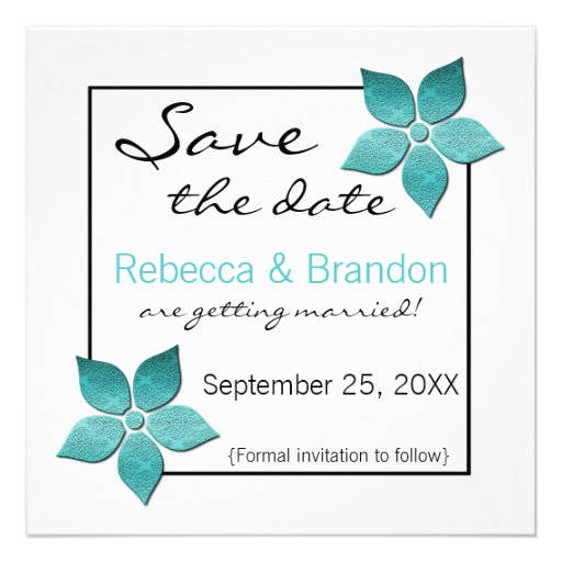 Damask Blooms Save the Date Invite, Turquoise