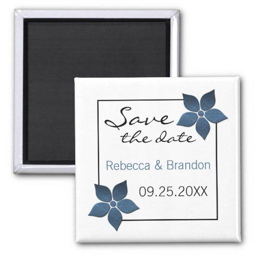 Damask Blooms Save the Date Magnet, Dark Blue