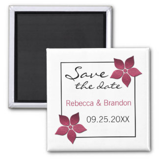 Damask Blooms Save the Date Magnet Fuchsia