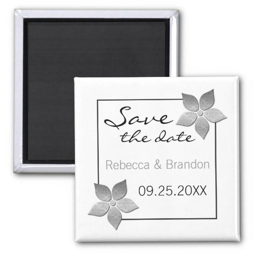 Damask Blooms Save the Date Magnet, Silver