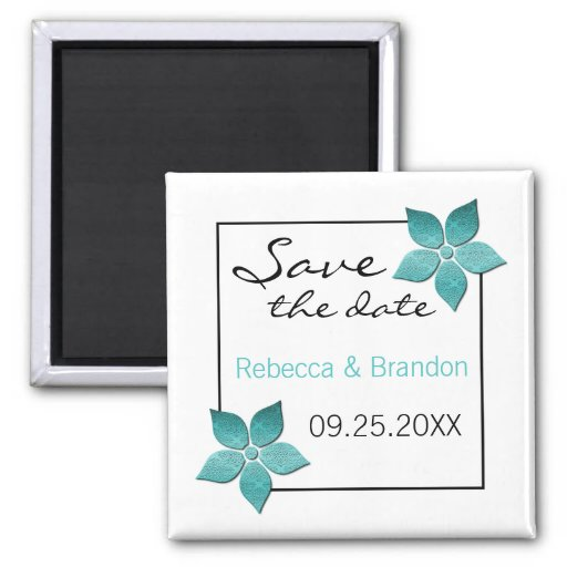 Damask Blooms Save the Date Magnet, Turquoise