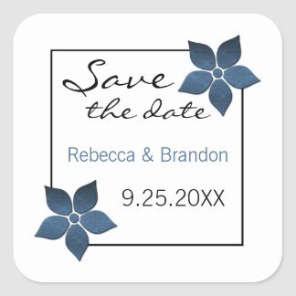 Damask Blooms Save the Date Stickers, Dark Blue Square Sticker