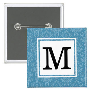 Damask | Blue 15 Cm Square Badge