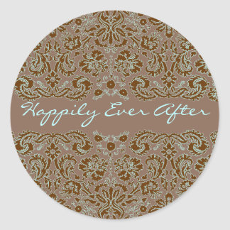 Damask Blue and Brown Wedding More Brown Round Sticker