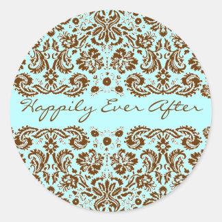 Damask Blue and Brown Wedding Round Sticker