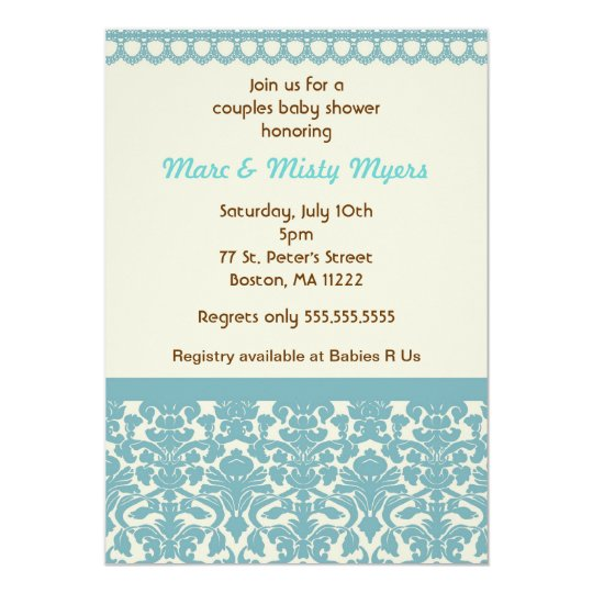 Damask Blue & Cream Baby Shower Invitation