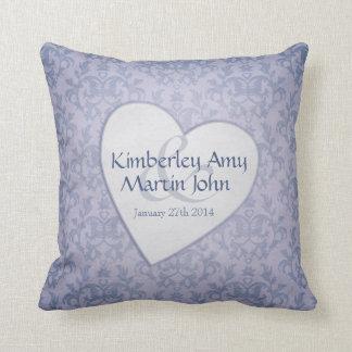 Damask blue heart commemorative wedding pillow