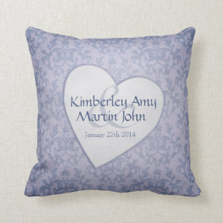 Damask blue heart commemorative wedding pillow cushions