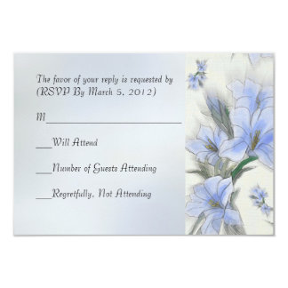 Damask Blue Hibiscus RSVP card Personalized Invite