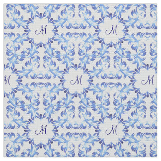 damask blue pattern. monogram. fabric
