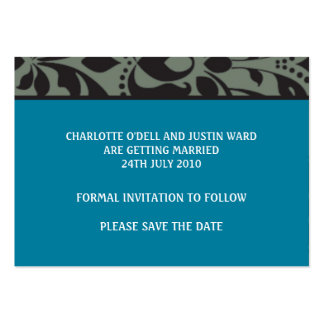 damask blue; save the date business cards