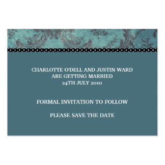 damask blue; save the date business card templates