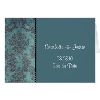 damask blue; save the date greeting card