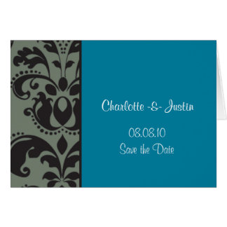 damask blue; save the date card