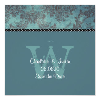 "damask blue; save the date 5.25"" square invitation card"