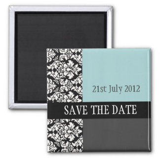 Damask Blue Save The Date Magnet