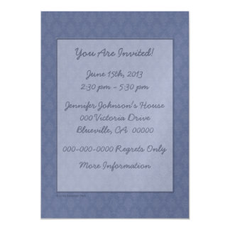 Damask Blue Tone on Tone 13 Cm X 18 Cm Invitation Card