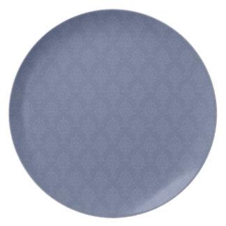 Damask Blue Tone on Tone Plates