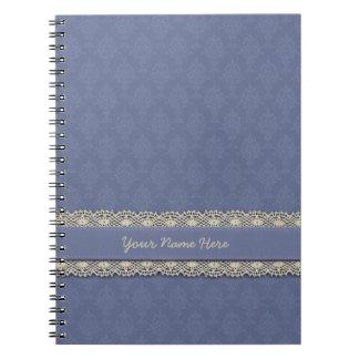 Damask Blue Tone on Tone Spiral Notebooks