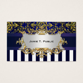 Damask Blue White Stripe, Blue Ribbon, Gold \Label Business Card