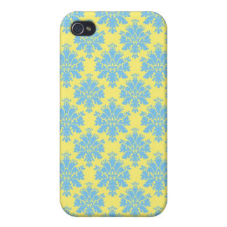 Damask Blue & Yellow Personalized iPhone 4 Cases