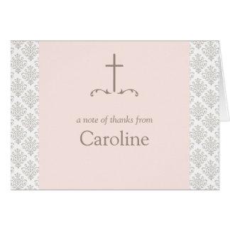 Damask Blush Pink Cross Note Card