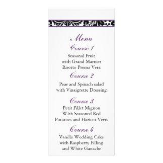 damask border purple Wedding menu Personalised Rack Card