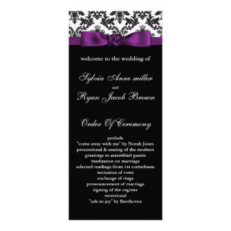 damask border purple Wedding program Rack Card Design