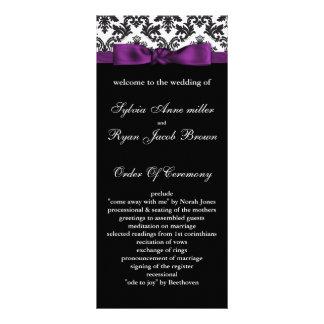 damask border purple Wedding program Rack Card Design