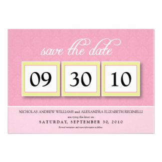 Damask Box Trio 5x7 Save the Date (baby pink) Personalized Announcement