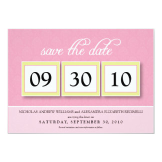 Damask Box Trio 5x7 Save the Date (baby pink) 5x7 Paper Invitation Card