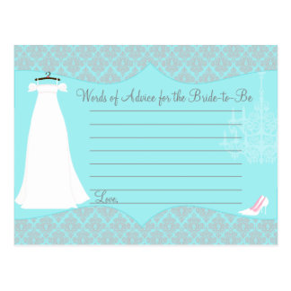 Damask Bridal Shower Advice card for the Bride