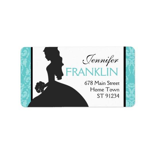 Damask Bride Address Label (Teal)