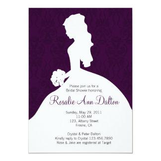 Damask Bride - Bridal Shower Invitaion (Plum) 13 Cm X 18 Cm Invitation Card
