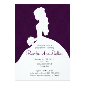 Damask Bride - Bridal Shower Invitaion (Plum) 5x7 Paper Invitation Card