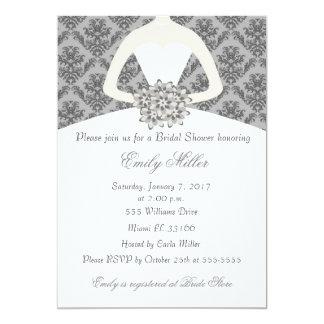 Damask Bride Grey Bridal Shower Invitation