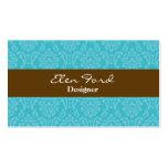Damask Brown and Blue Elegant Business Cards