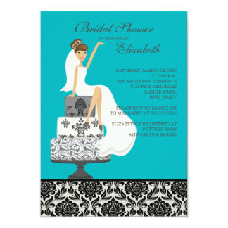 Damask Brunette Bride Bridal Shower Invitation